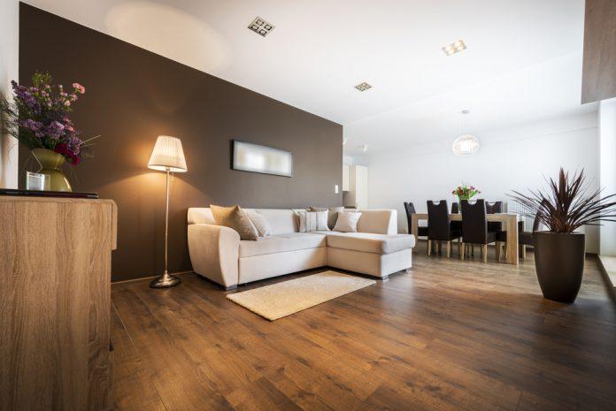 woonkamer met veel hout invloeden